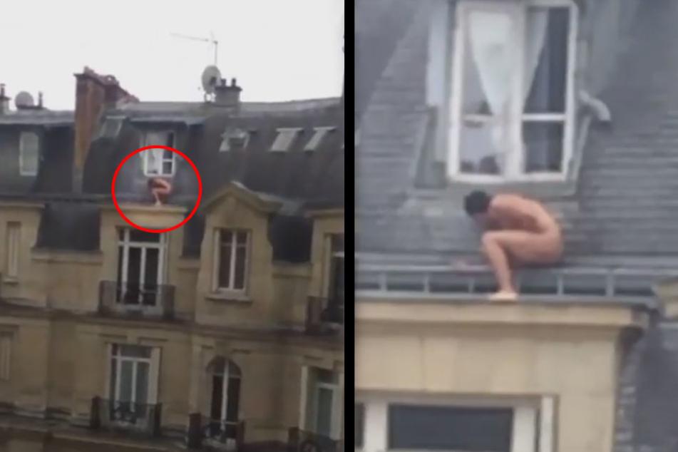Fremdgeher? Nackter Mann versteckt sich auf Dach