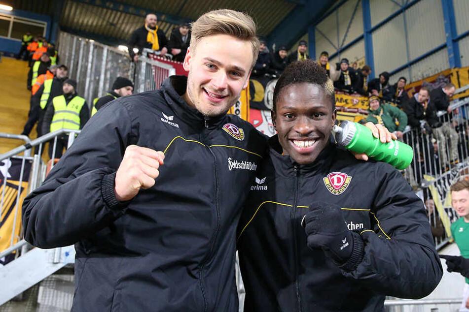 Dynamos neues Traumduo: Lucas Röser (l.) und Moussa Koné besorgten alle drei Dresdner Treffer.