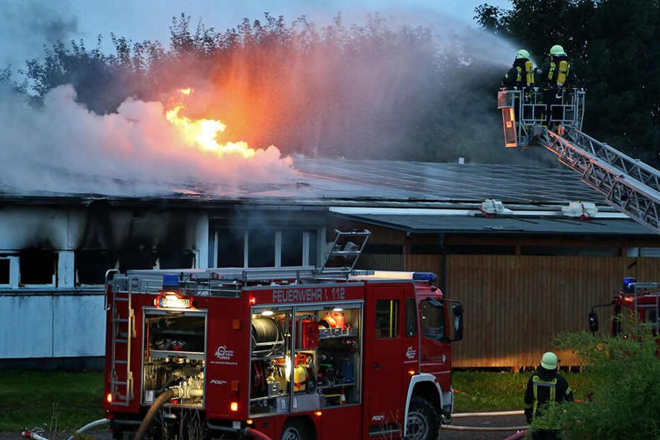 Erst mit Hilfe einer Drehleiter konnte der Brand gelöscht werden.