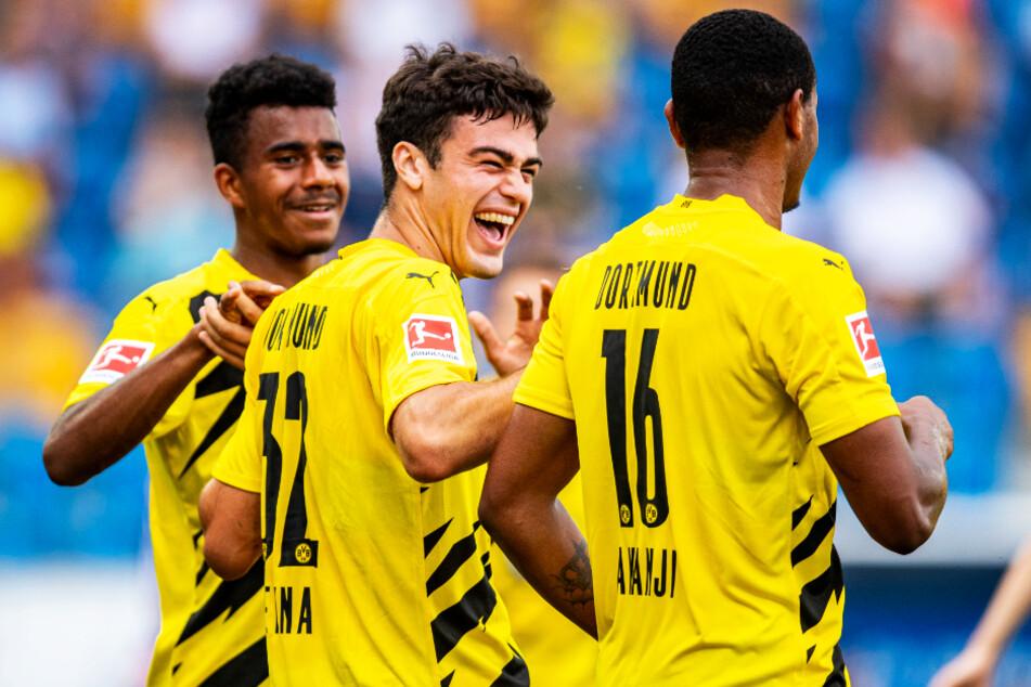 Ansgar Knauff (18, l.) und Giovanni Reyna (18, M.) könnten zukünftig auch zusammen bei den BVB-Profis wirbeln.
