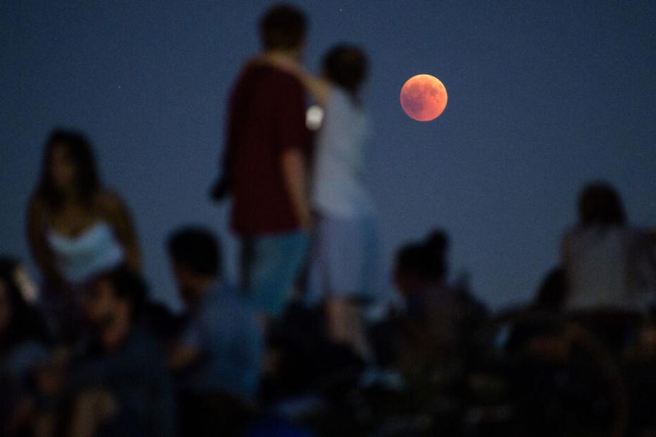 Viele Menschen schauten sich den Blutmond im Sommer an.