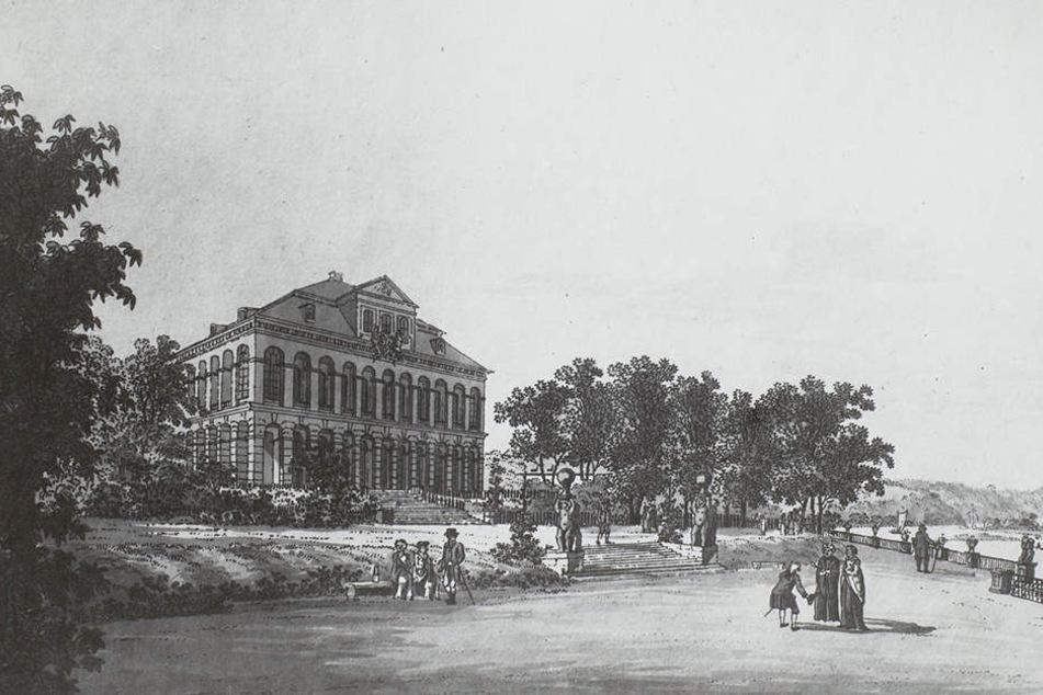 So sah der Prunkbau Anfang des 19. Jahrhunderts aus Sicht vom Schlossgarten aus.