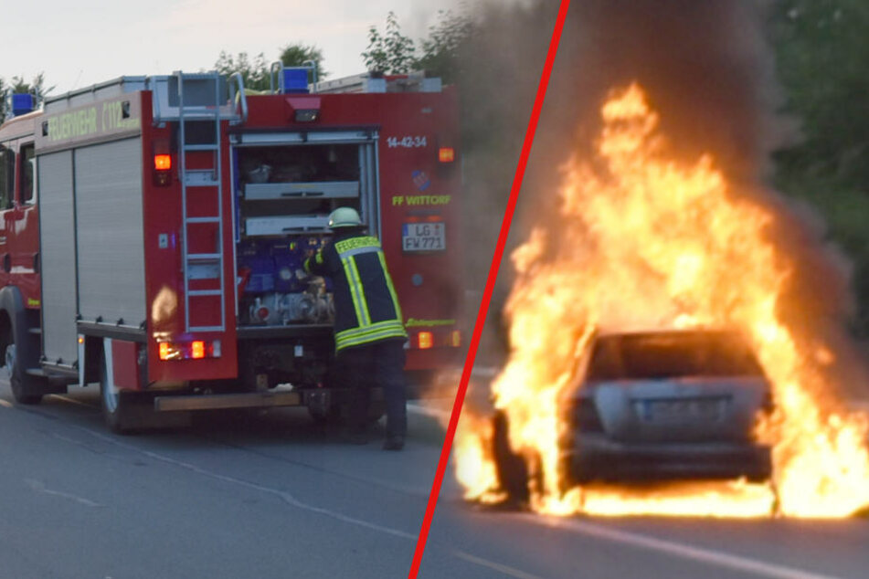 Mitten auf der Autobahn! Fahrzeug geht plötzlich in Flammen auf