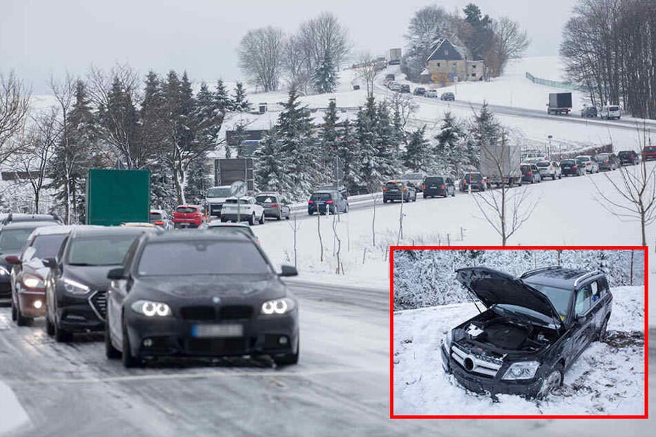 Blitzeis legt Verkehr lahm: Kilometerlanger Stau im Erzgebirge