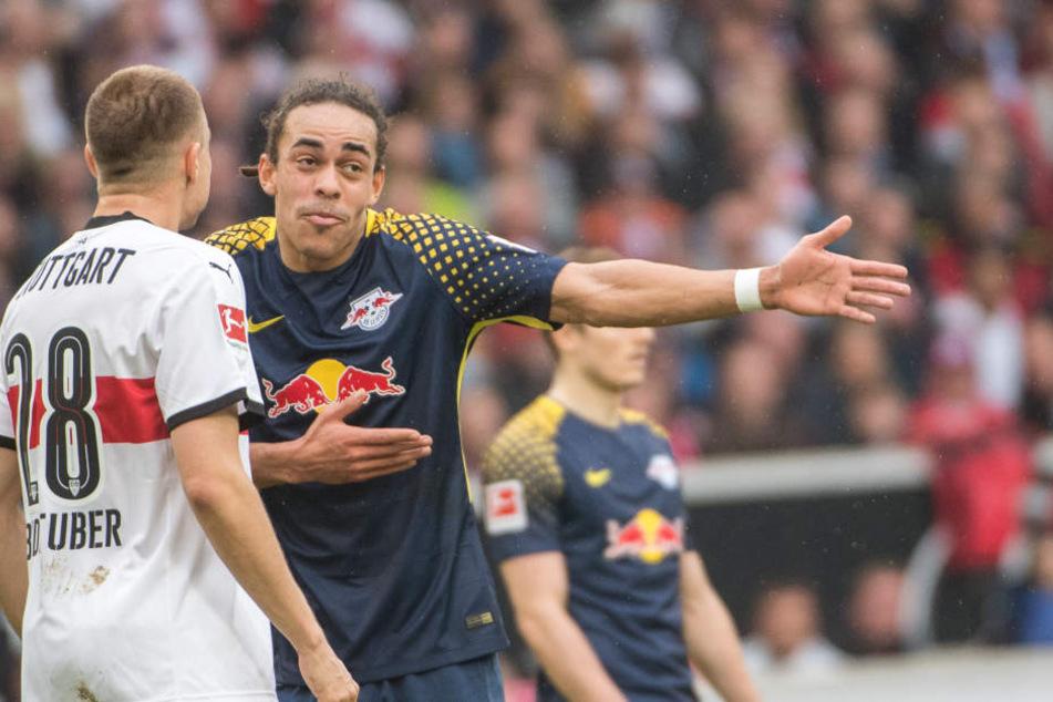 Auch mit Diskutieren konnte Leipzigs Yussuf Poulsen RB am Sonntag beim VfB Stuttgart nicht zum Sieg verhelfen.