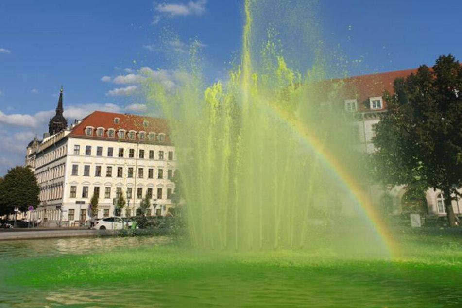 Blick auf den Brunnen am Japanischen Palais: Das Wasser sprudelte in grüner Farbe.