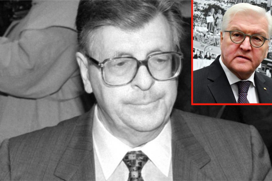 Hat sich laut Bundespräsident Steinmeier (kleines Foto) über die Parteigrenzen hinweg Anerkennung erworben: der verstorbene CDU-Politiker Philipp Jenninger (großes Foto).