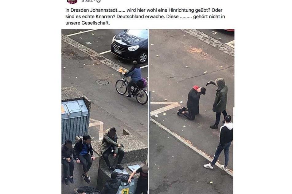 Links ist zu sehen, wie ein junger Mann mit einer Pistole zielt, rechts das Foto der Scheinhinrichtung.