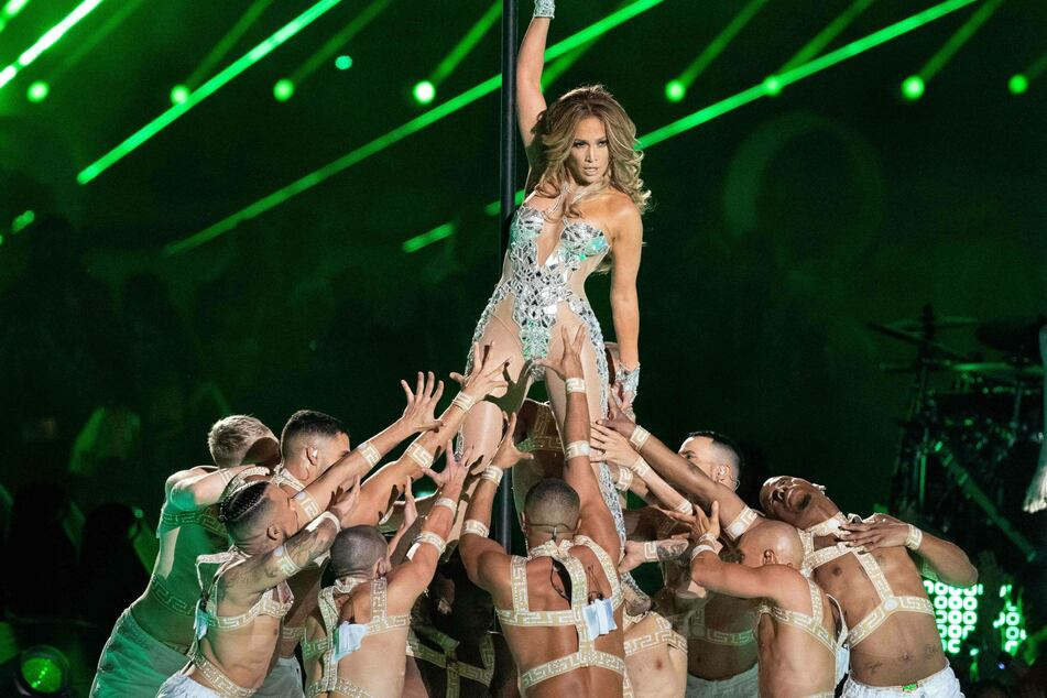 Jennifer Lopez performing during the Super Bowl game on February 2, 2020.