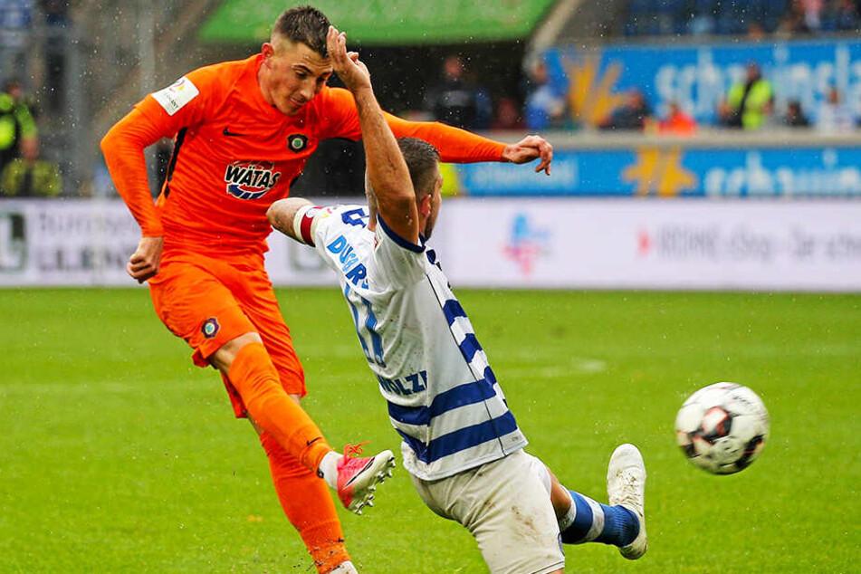 Sein letztes Tor für Aue: Mario Kvesic traf am 23. September zum 2:1-Sieg beim MSV Duisburg.