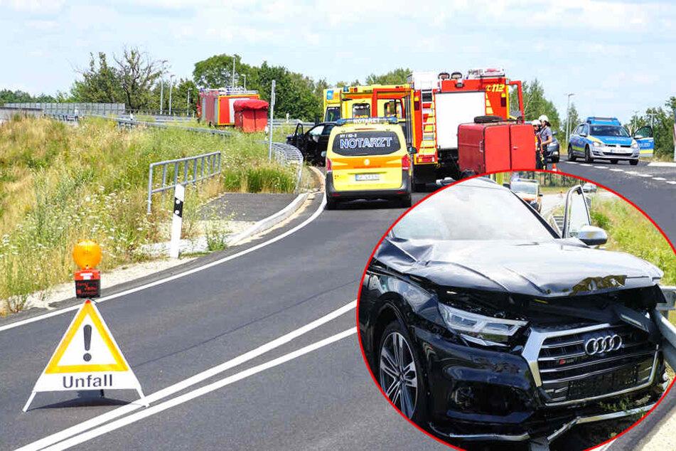 Vorfahrt missachtet? Audi knallt nach Crash mit Mercedes in Leitplanke