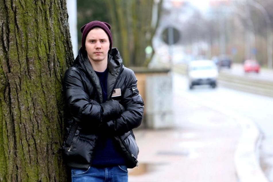 Stefan Kotrini (20) ist an der Stollberger Straße brutal verprügelt  worden.