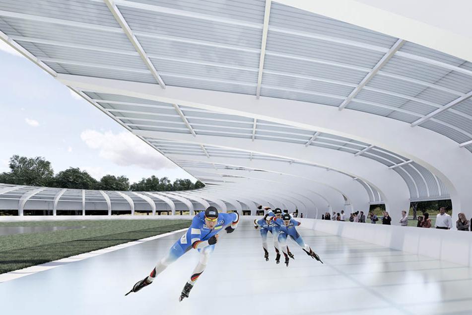 Schnittig: So soll die Eisbahn im Chemnitzer Küchwald aussehen. Das Bauvorhaben verschiebt sich um ein Jahr.