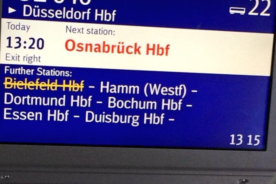 Im ICE von Leipzig nach Düsseldorf wurde der Halt in Bielefeld direkt komplett gestrichen.