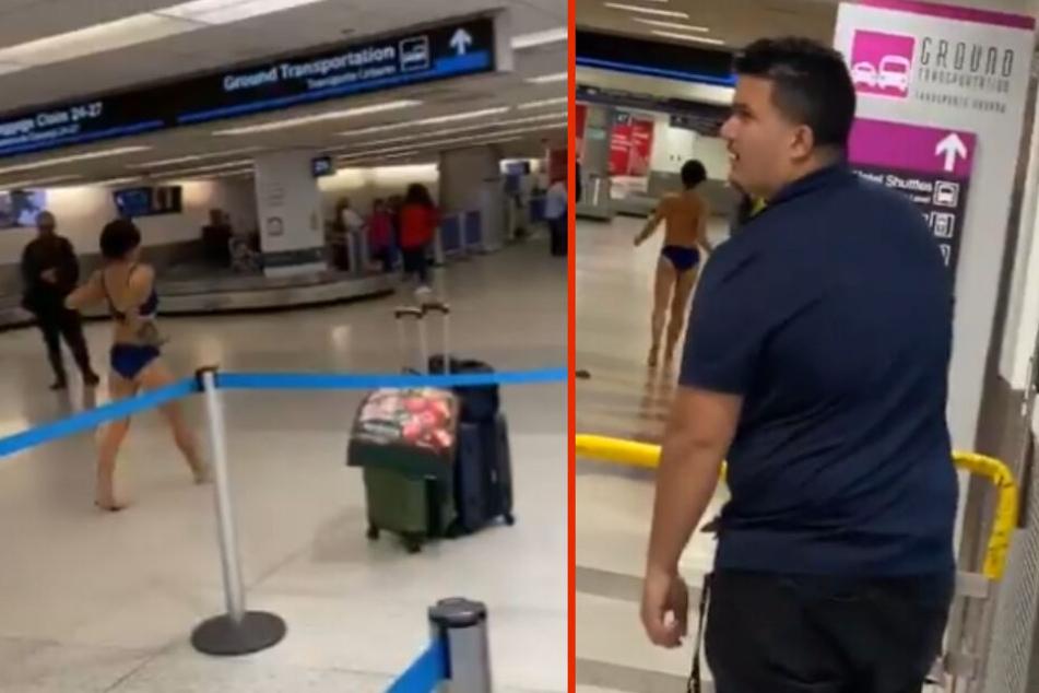 Frau lässt am Flughafen sämtliche Hüllen fallen
