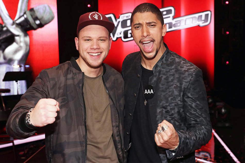 """Am 18. Dezember wurde Tay Schmedtmann (links) offiziell zum """"The Voice""""-Sieger gekürt. Kurze Zeit später verkündete Coach Andreas Bourani (rechts) sein Aus bei der Castingshow."""