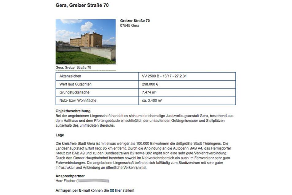 Die ehemalige JVA wird auf der Seite des Thüringer Liegenschaftsmanagement angeboten.