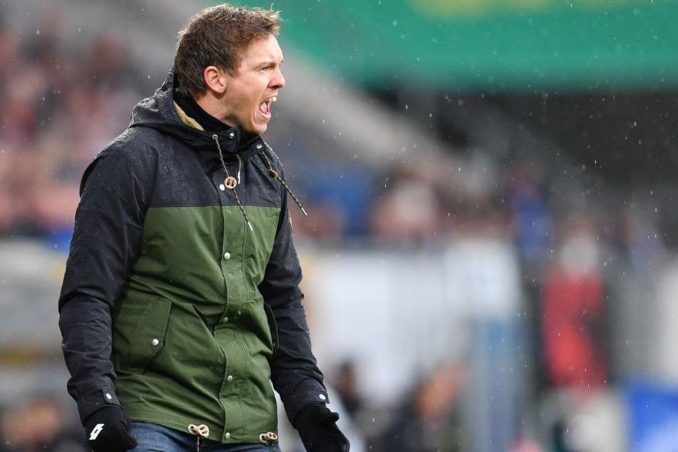 Hoffenheims Trainer Julian Nagelsmann brüllt aufs Spielfeld. Die Niederlage hat es nicht verhindert.