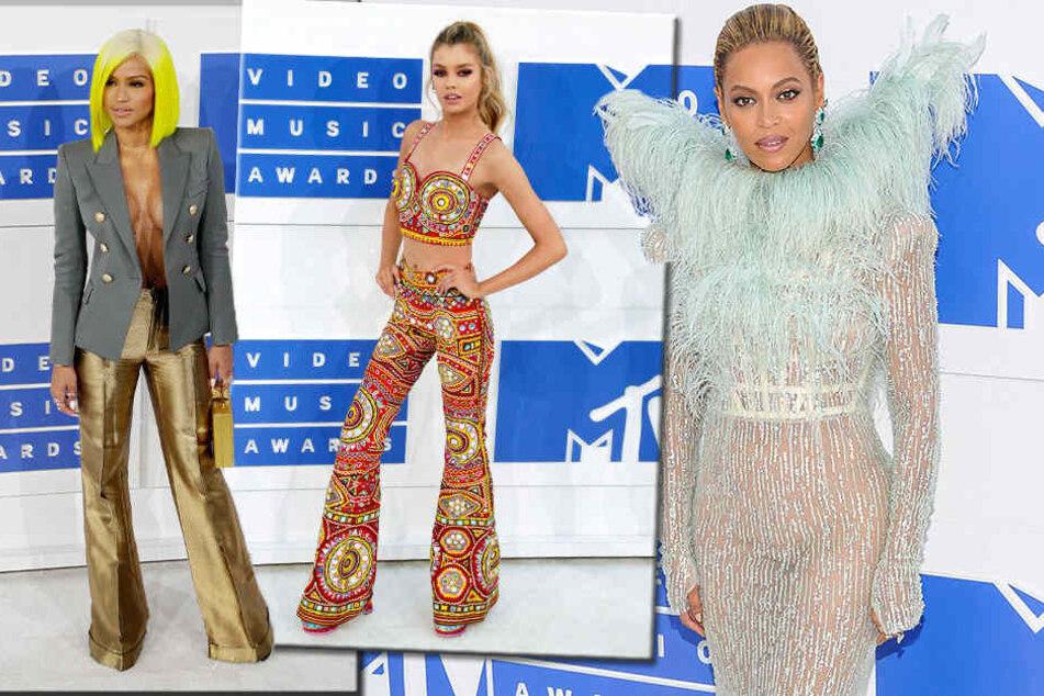 """Beyoncé (34) , """"Victoria's Secret""""-Engel Stella Maxwell (25) und P. Diddys Freundin Cassie (30, v.r.n.l.) bei den MTV Video Music Awards."""