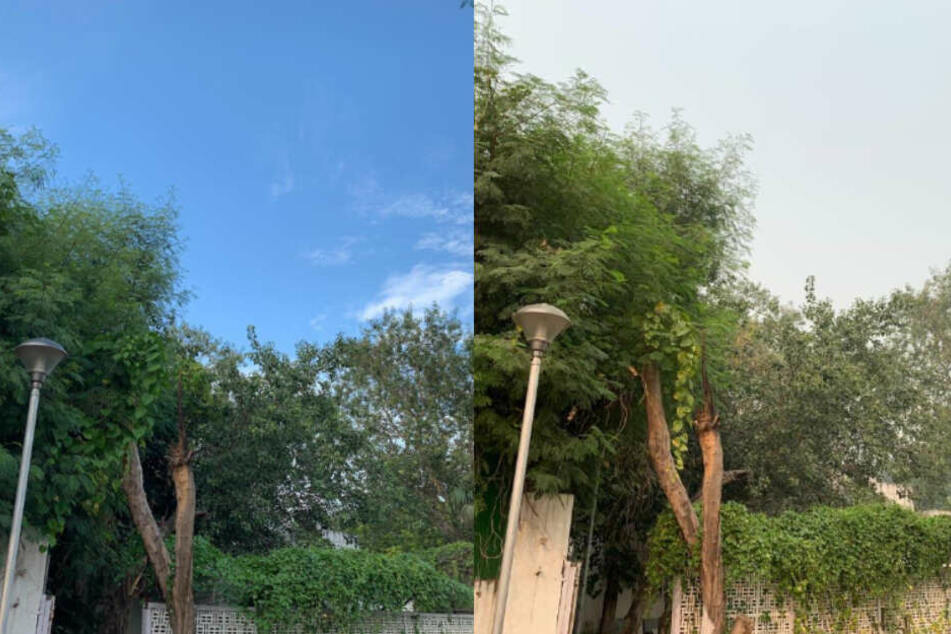 Der Himmel über Delhi am 26. September (l.) und am 1. November. Hat die Ernte in den Nachbarstaaten wirklich so viel Schaden angerichtet?