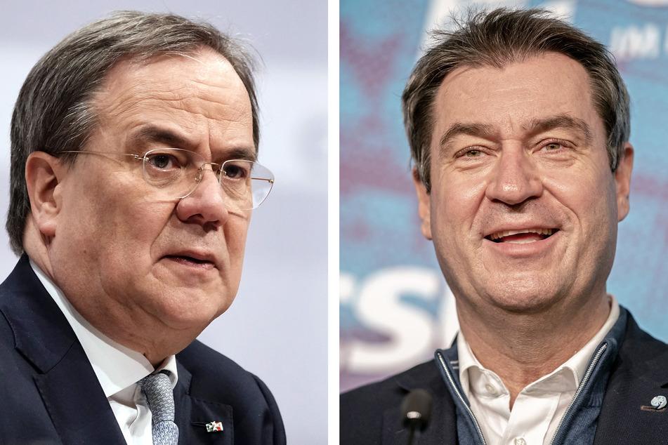 Armin Laschet (60, CDU, l) und Markus Söder (54, CSU) sollen sich in konstruktiven Gesprächen befinden, um die Kanzler-Frage final zu klären.