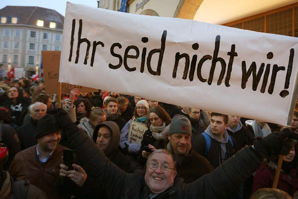 In Münster waren am 10. Februar etwa 8000 Menschen gegen die AfD auf die Straße gegangen.