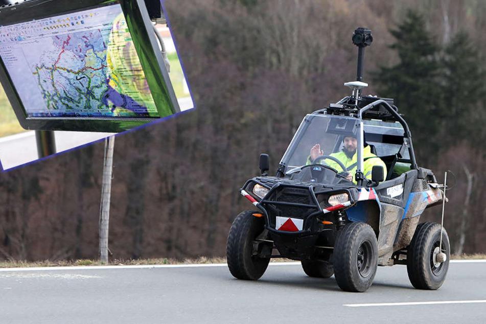 Hightech-Gefährt wie von Google Maps: Buggy vermisst Radnetz