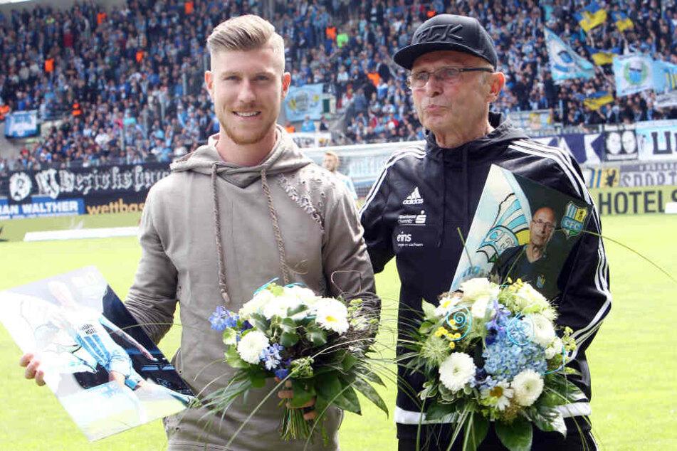 Philip Türpitz (l.) und Reha-Trainer Hermann Kretschmann wurden verabschiedet.