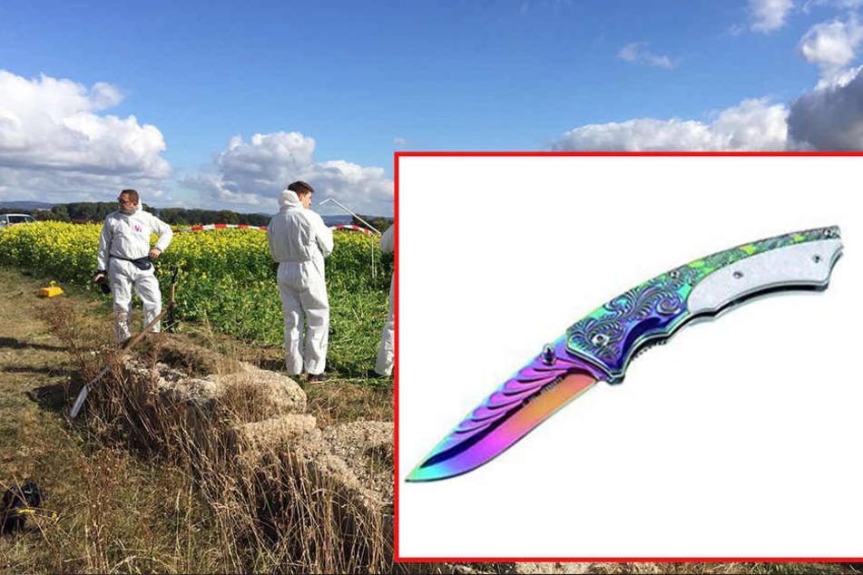 Das gesuchte Messer, laut Polizei ähnlich wie im Bild dargestellt, hat einen gelben Griff, eine Gesamtlänge von 20 cm und eine Klingenlänge von 8,5 cm.