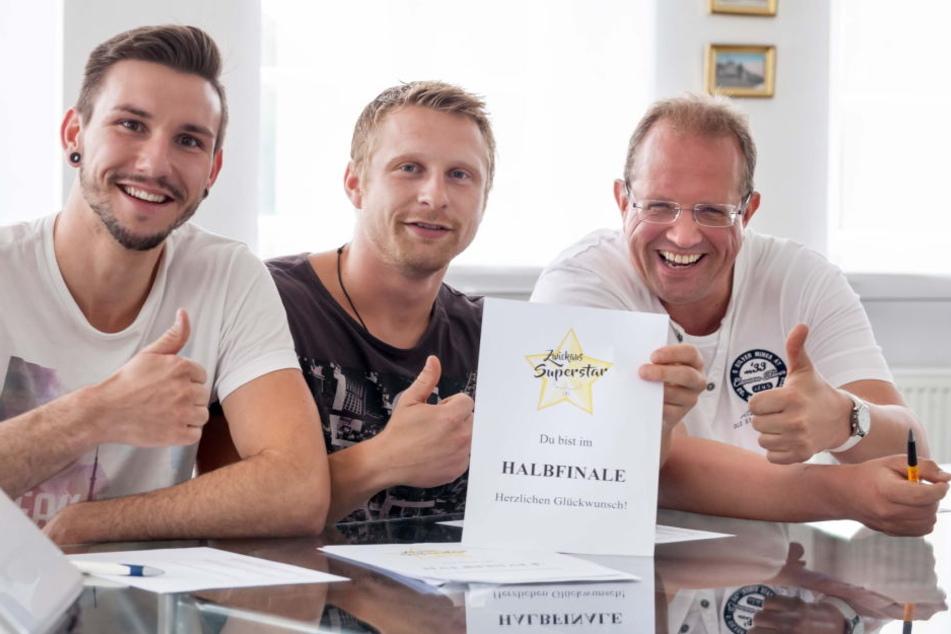 Freuen sich auf Zwickaus Superstar Teil zwei: Die Jurymitglieder Raik Bartnik (48, Radio Zwickau), Billy Unger (28, Musiker) und Contest-Erfinder Christopher Kühn (28, von rechts).