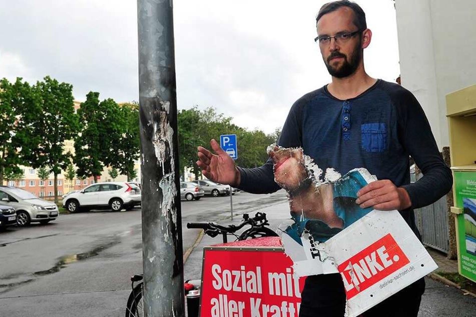 Linken-Kandidat Tim Detzner (39) ärgert sich über angezündete Wahlplakate im Heckertgebiet.