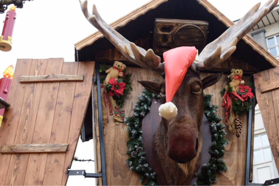 Auf dem Kasseler Weihnachtsmarkt sorgt dieser sprechende und singende Elch für keine weihnachtliche Stimmung – dank dem Kasseler Marketing.