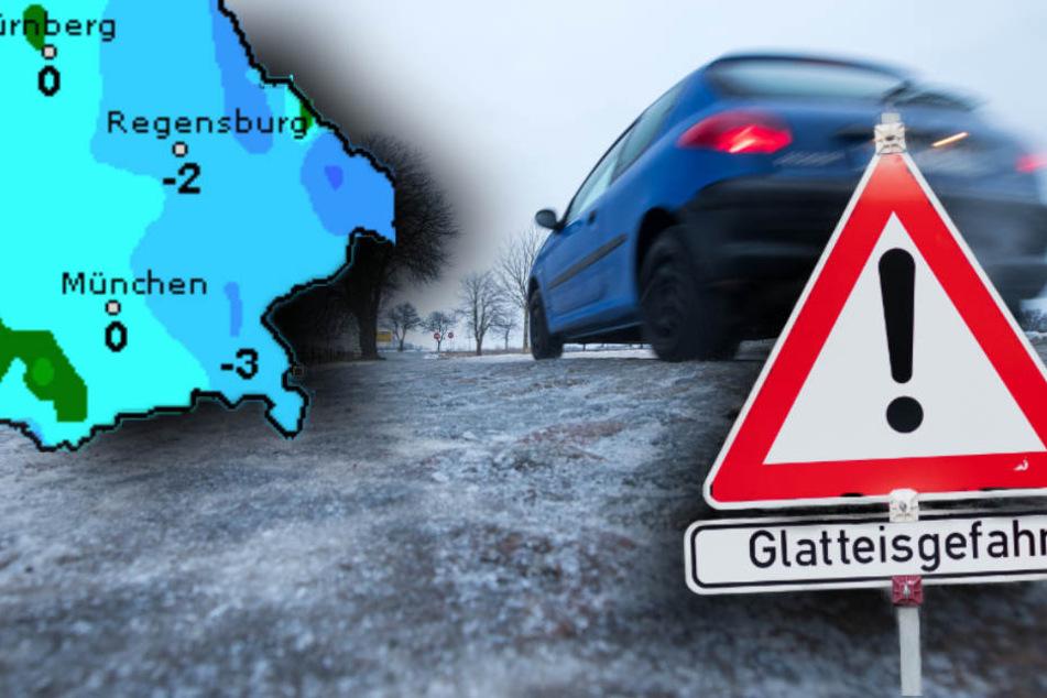 In Bayern droht Glatteis und Eisregen. (Bildmontage)