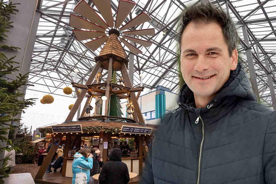 Weihnachtsfeeling mit Bratwurst, Glühwein und Pyramide gibt es im Chemnitz Center noch bis 2. Februar. Sven Hertwig (47) von den Rathauspassagen denkt über eine längere Weihnachtsbeleuchtung nach.