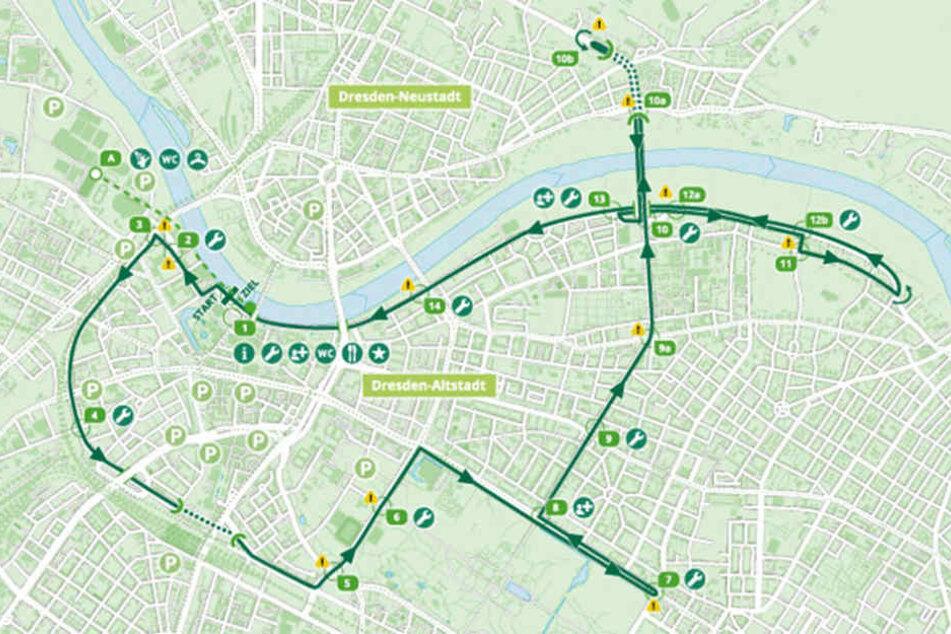 Der Streckenverlauf des Radrennens am Sonntag, den 14. August.