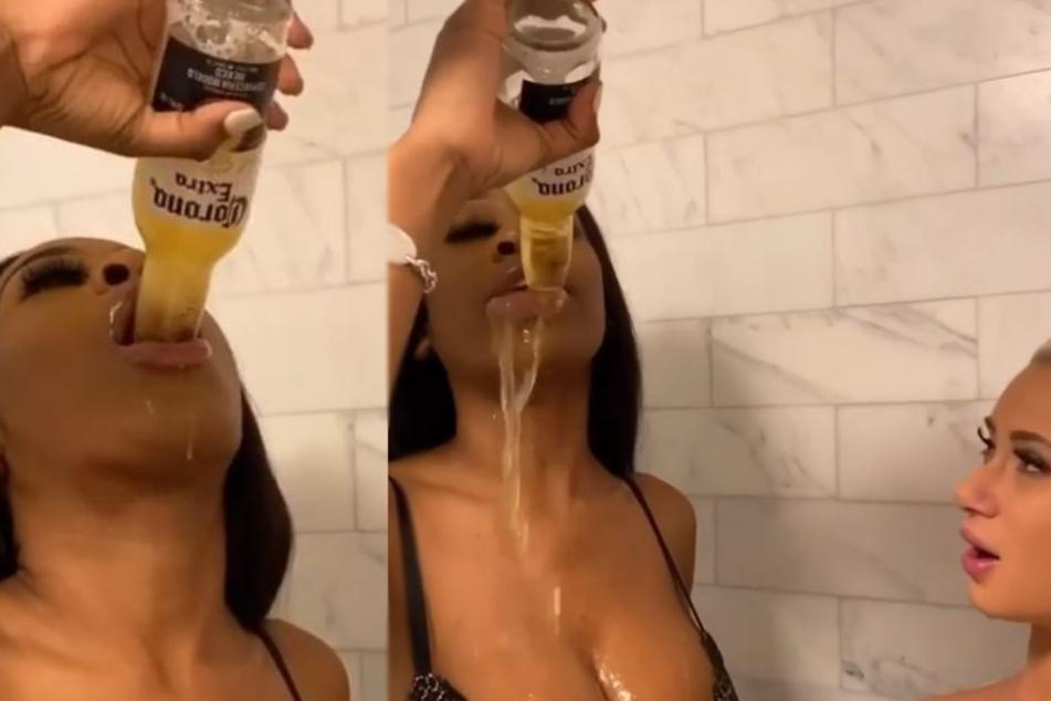 Anne Moore (23) schluckt Corona.