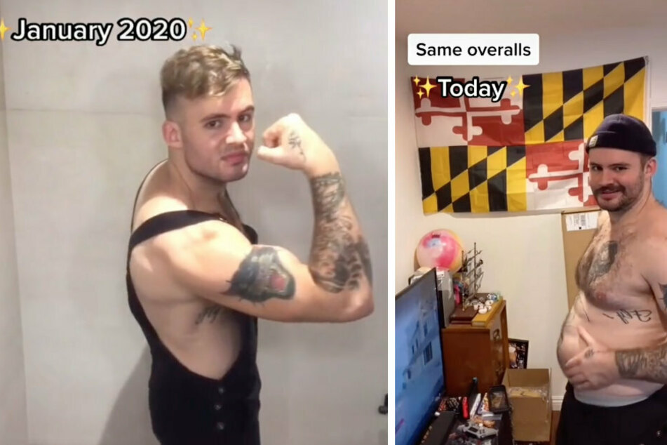 Alek Nieberlein may be wearing the same outfit in January 2020 and December 2020, but it fits a bit differently.