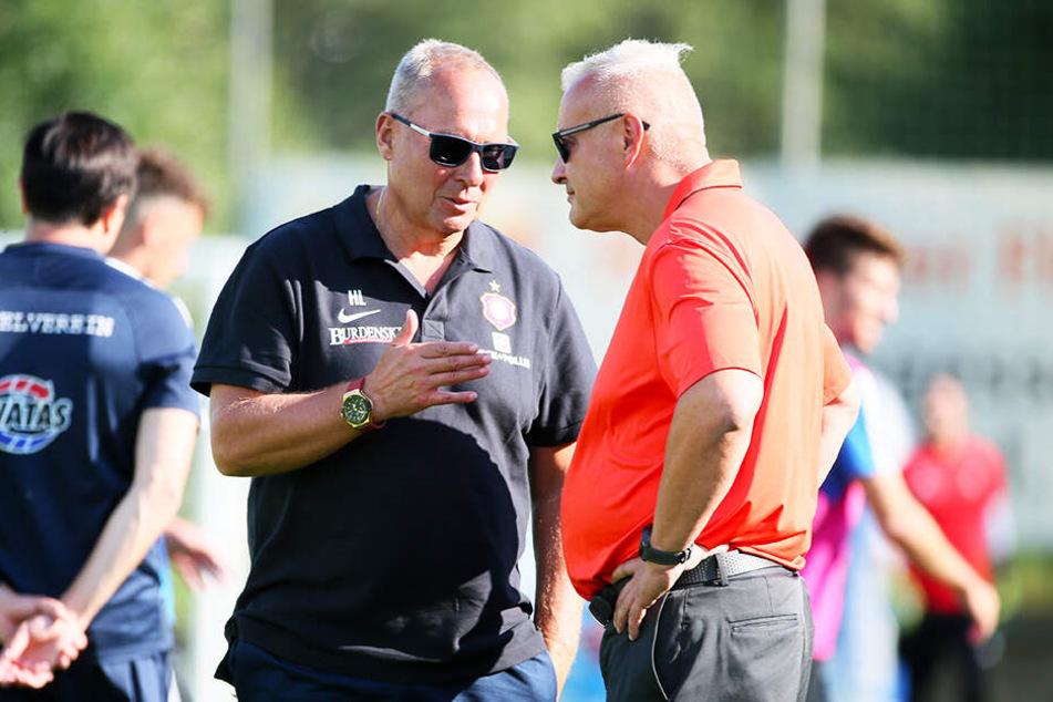 Bleiben auch ruhig, wenn vielen Fans schon Bange wird: FCE-Geschäftsführer Michael Voigt (r.) und Präsident Helge Leonhardt planen die neue Saison.