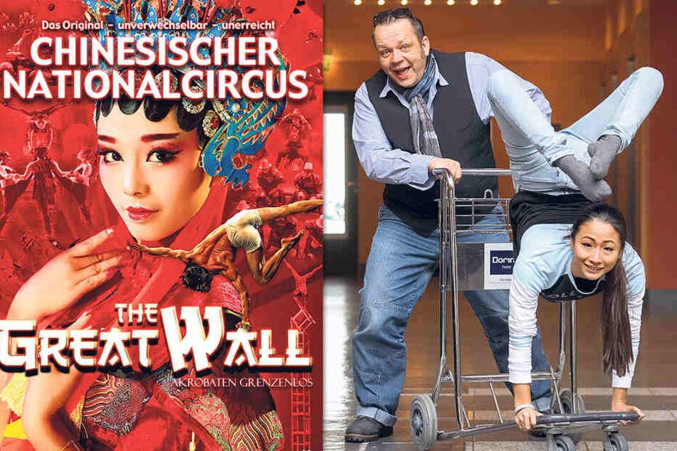 Show-Produzent Raoul Schoregge (50) und Artistin Doudou (24) - selbst eine Hotel-Lobby verwandeln sie in eine Zirkus-Manege.