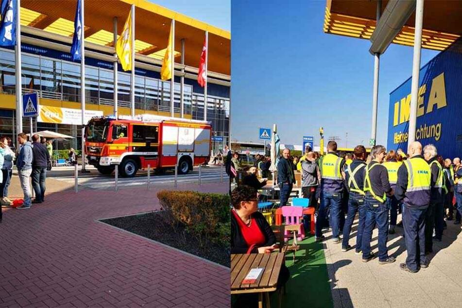 IKEA im Elbepark evakuiert: Feuerwehr vor Ort