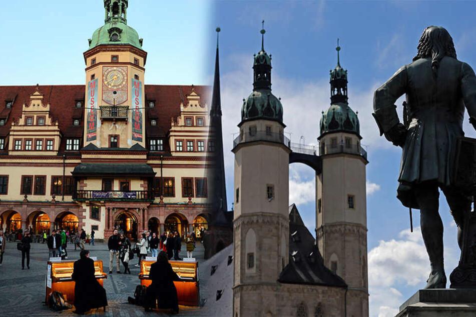 Das alte Rathaus in Leipzig und die Marktkirche Unser lieben Frauen in Halle.