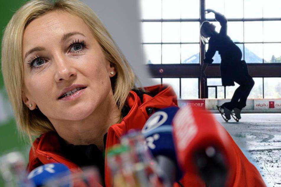 Sie hat es wieder getan: Hier dreht Aljona Savchenko mit Babybauch eine Runde auf dem Eis
