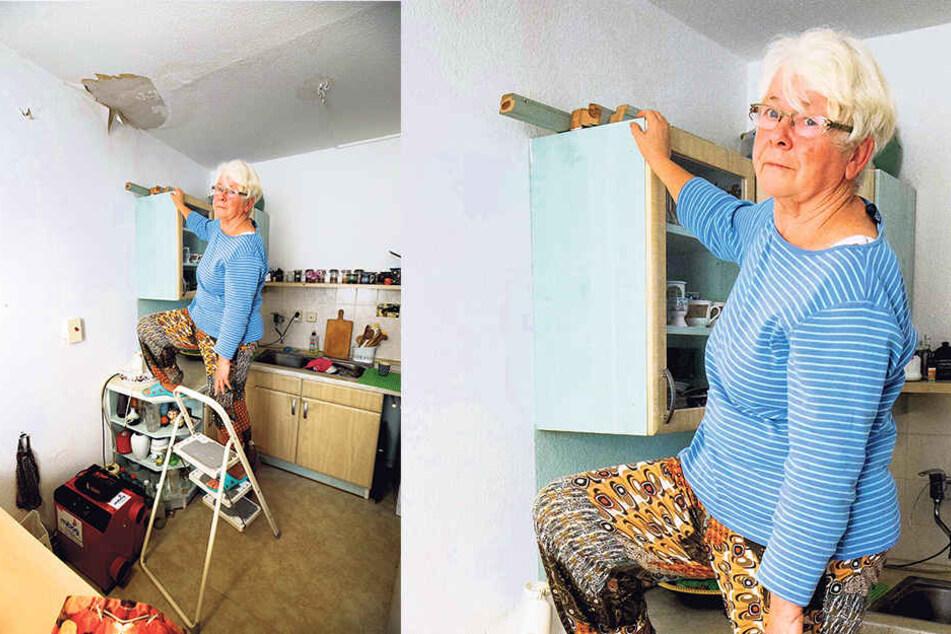 Sieglinde Hilscher (74) in ihrer Küche, die nach dem Wasserrohrbruch seit Tagen einer Baustelle gleicht.