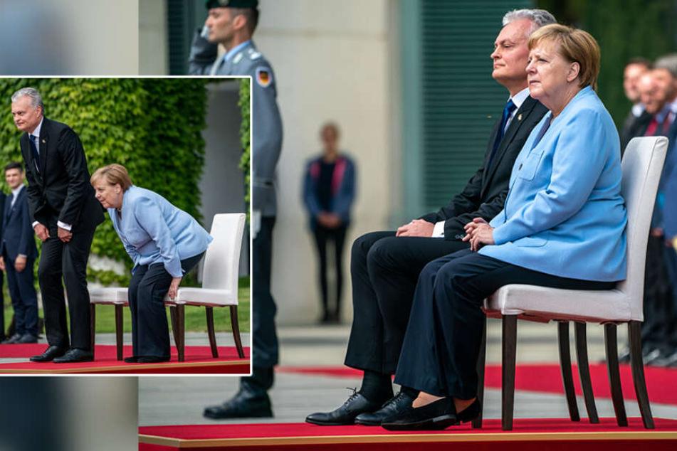 Nach Zitteranfällen: Merkel sitzt wieder bei Empfang