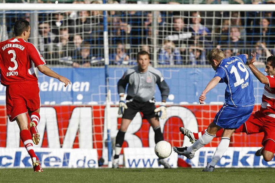 So jubelte Dennis Grote nach seinem Treffer gegen die Bayern.