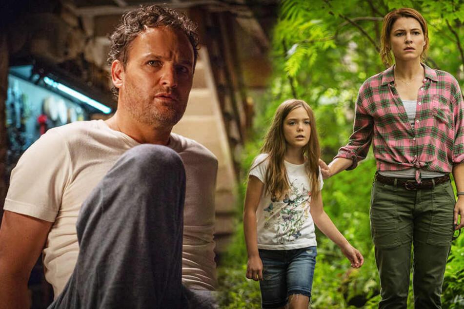 Dr. Louis Creed (l., Jason Clarke) ahnt nicht, worauf er, seine Frau Rachel (r., Amy Seimetz) und ihre Tochter Ellie (Jeté Laurence) sich eingelassen haben. (Bildmontage)