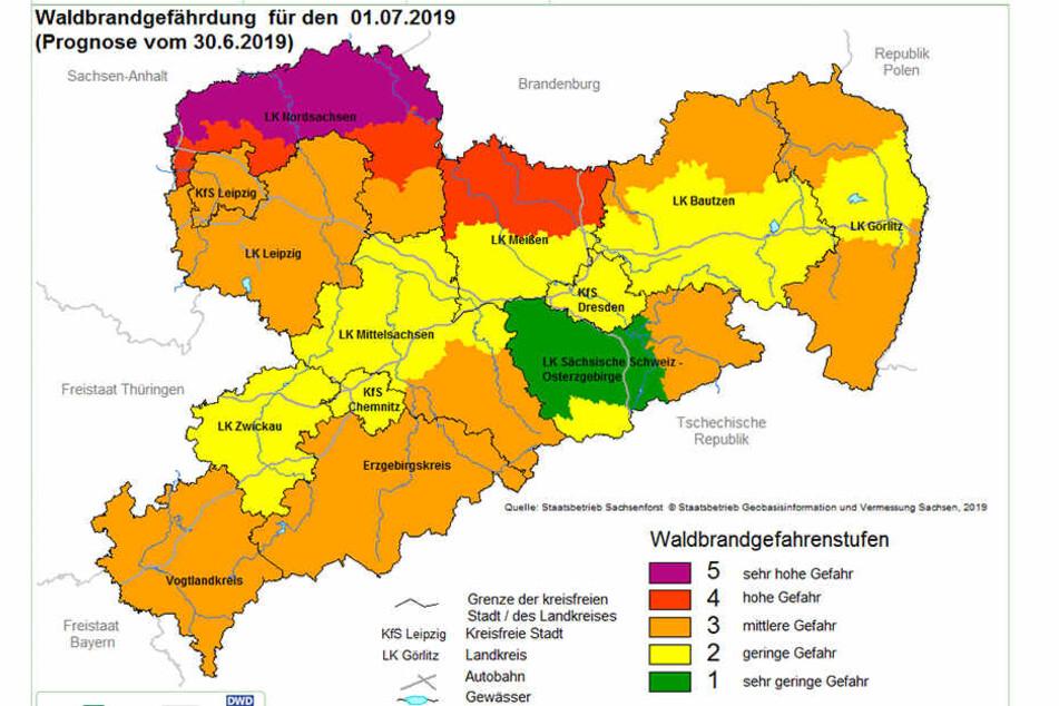 In Westsachsen gilt aktuell die Waldbrandstufe zwei und drei.