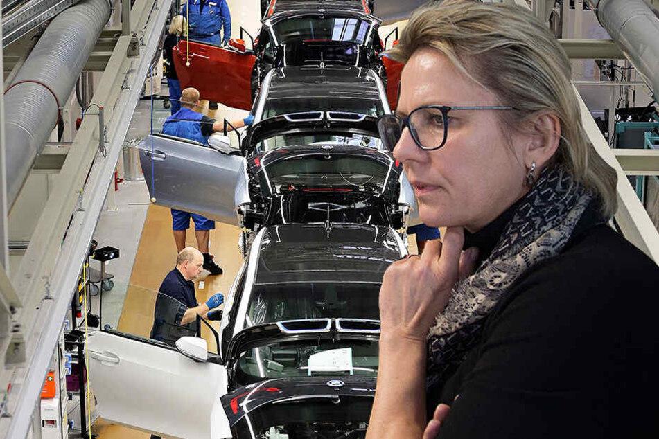 Die Politikerin Barbara Klepsch (CDU) war am Mittwoch im Leipziger BMW-Werk zu Gast.