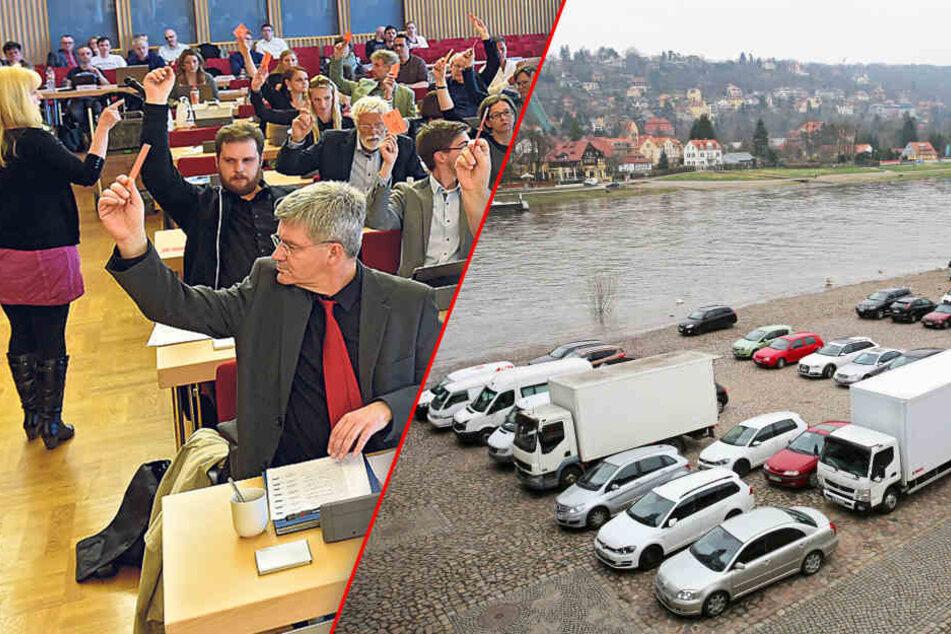 Achtung! Stadt verbietet Parkplätze am Blauen Wunder