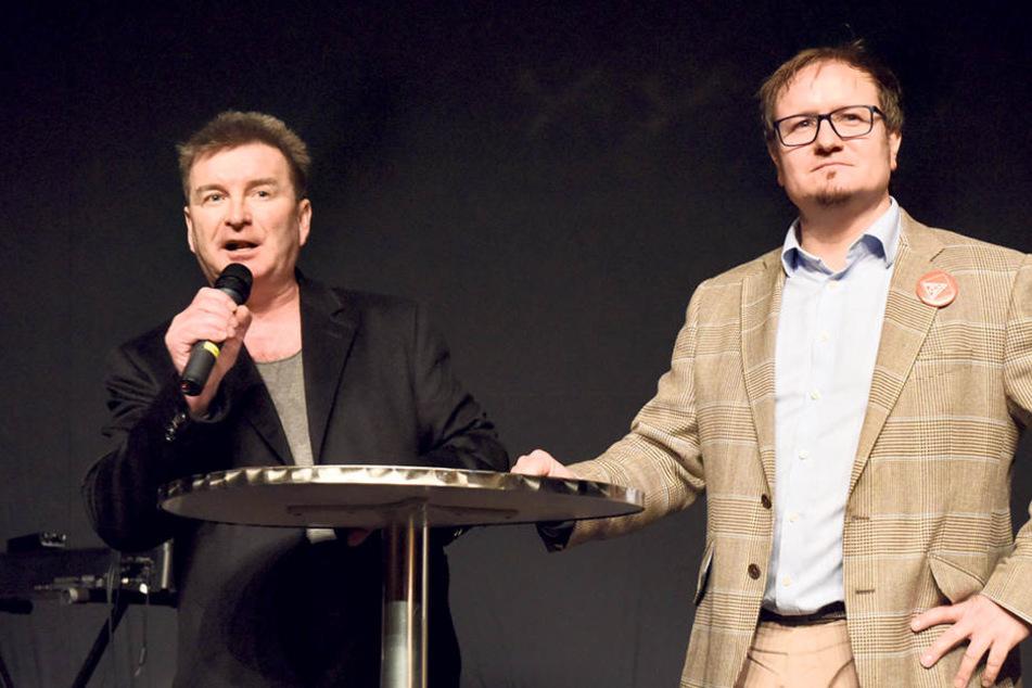 Leipzigs IG Metall-Chef Bernd Kruppa (l.) und der Betriebsratsvorsitzende Thomas Clauß haben zusammen mit der Belegschaft einen Zukunftsplan für das Leipziger Siemens-Werk entwickelt.
